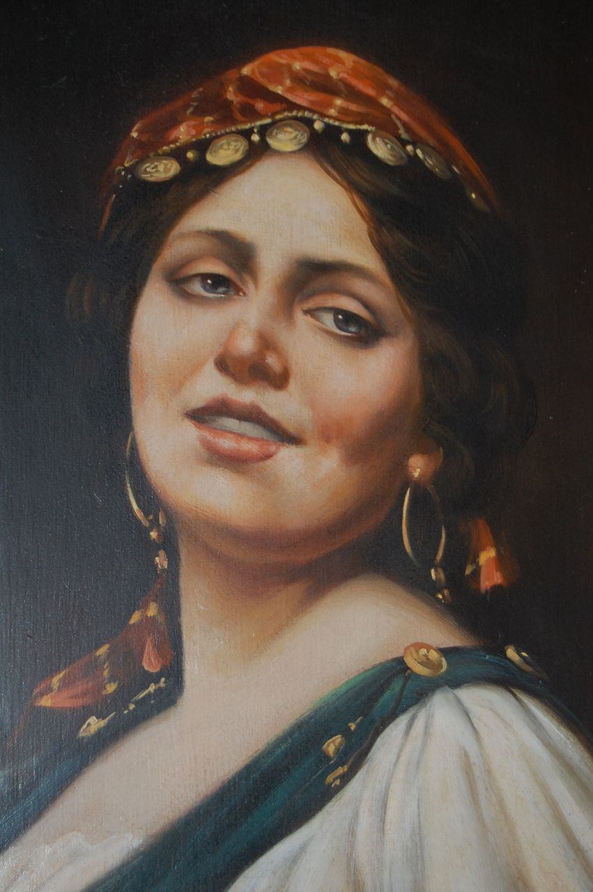 1900s Italian Gypsy Oil Painting in Original Gilt Frame ...