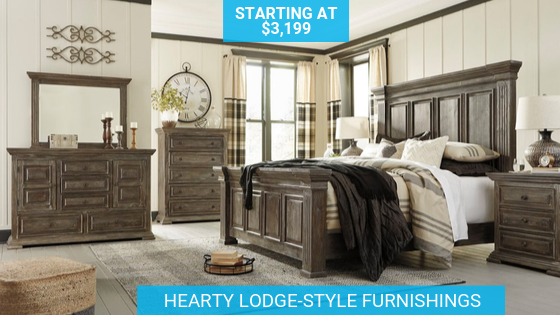Hearty Lodge Style Bedroom Furniture Panel Bed Bedroom Panel