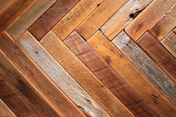 Barn wood coffee table – Herringbone table – Hairpin legs – Chevron ...