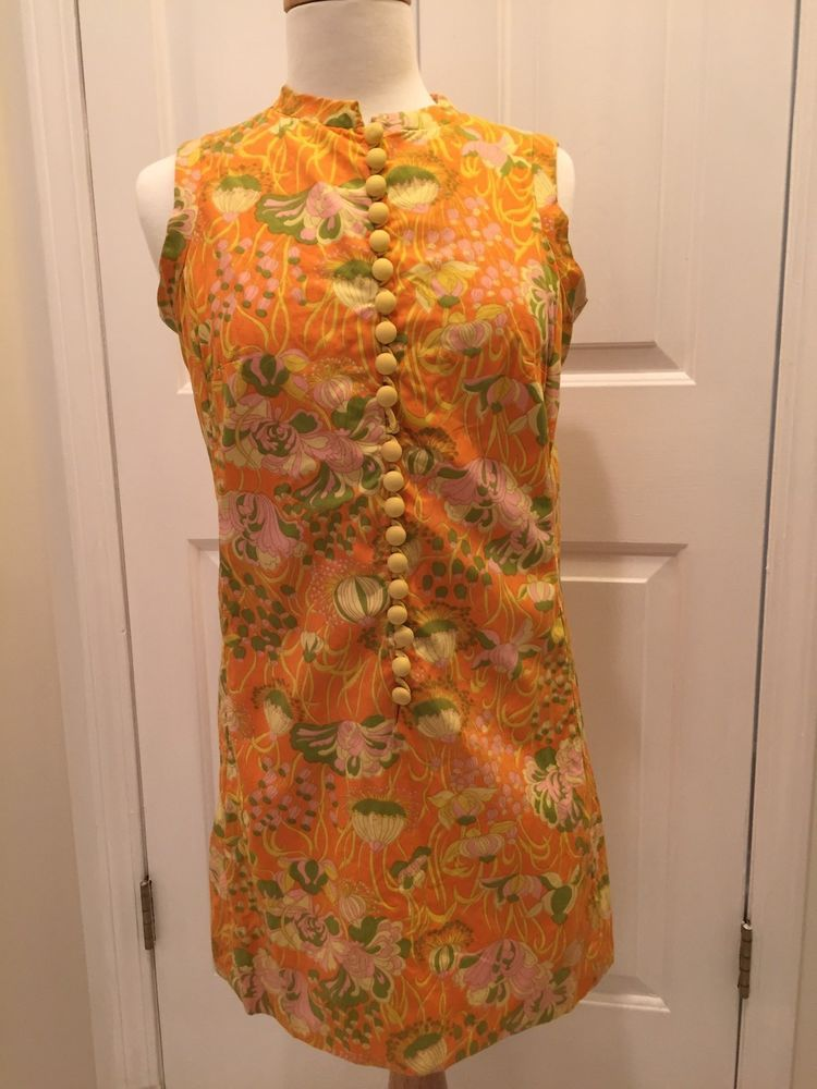 c258f03e356d RARE 1960's Lilly Pulitzer Original Shift Dress Yellow Orange Print