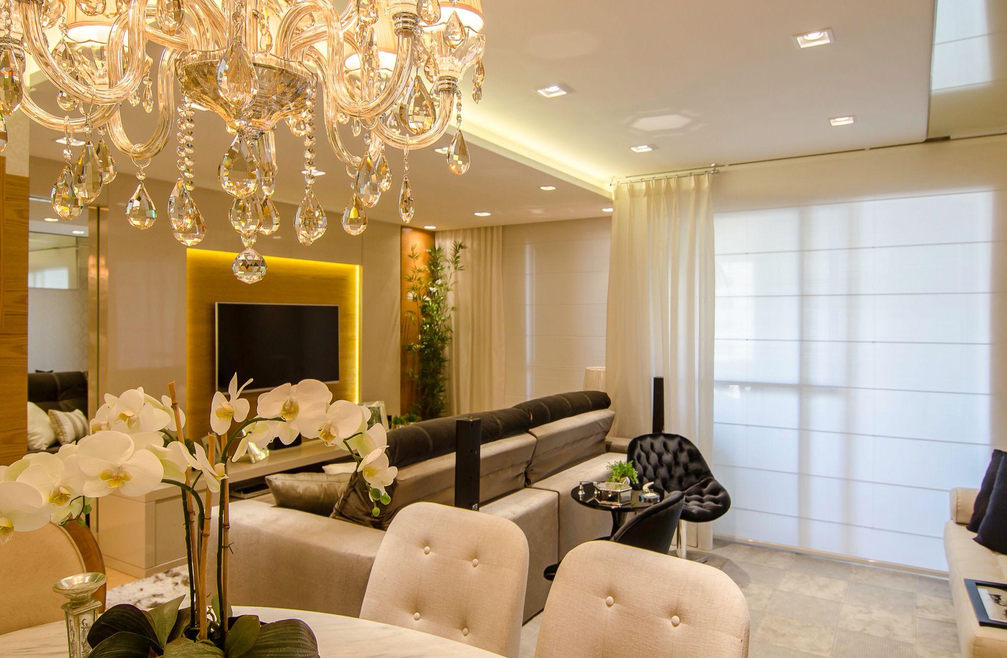 Living Sala De Tv Com Painel Com Ilumina O Indireta E Sala De