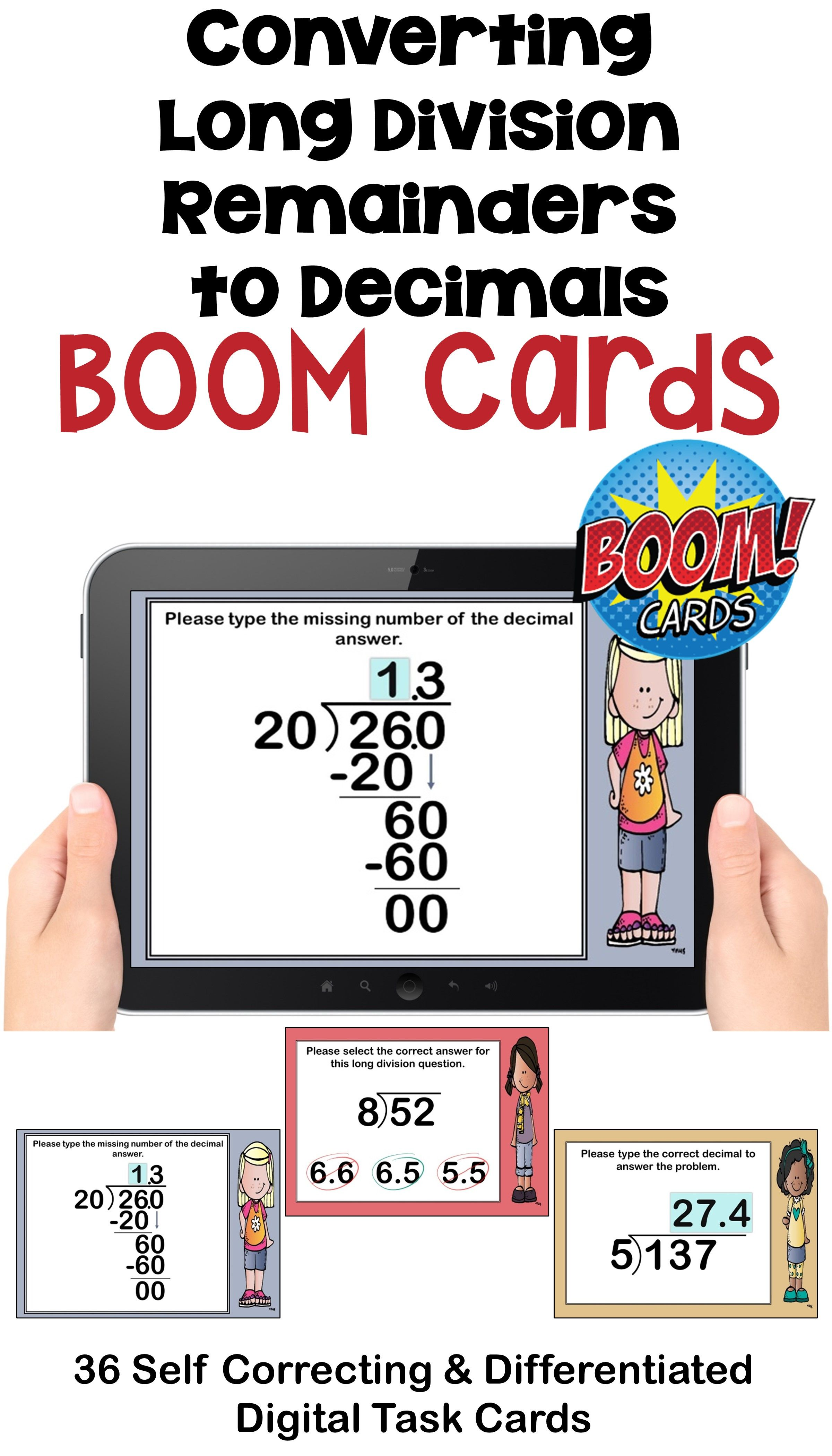 Converting Long Division Remainders To Decimals Boom Cards