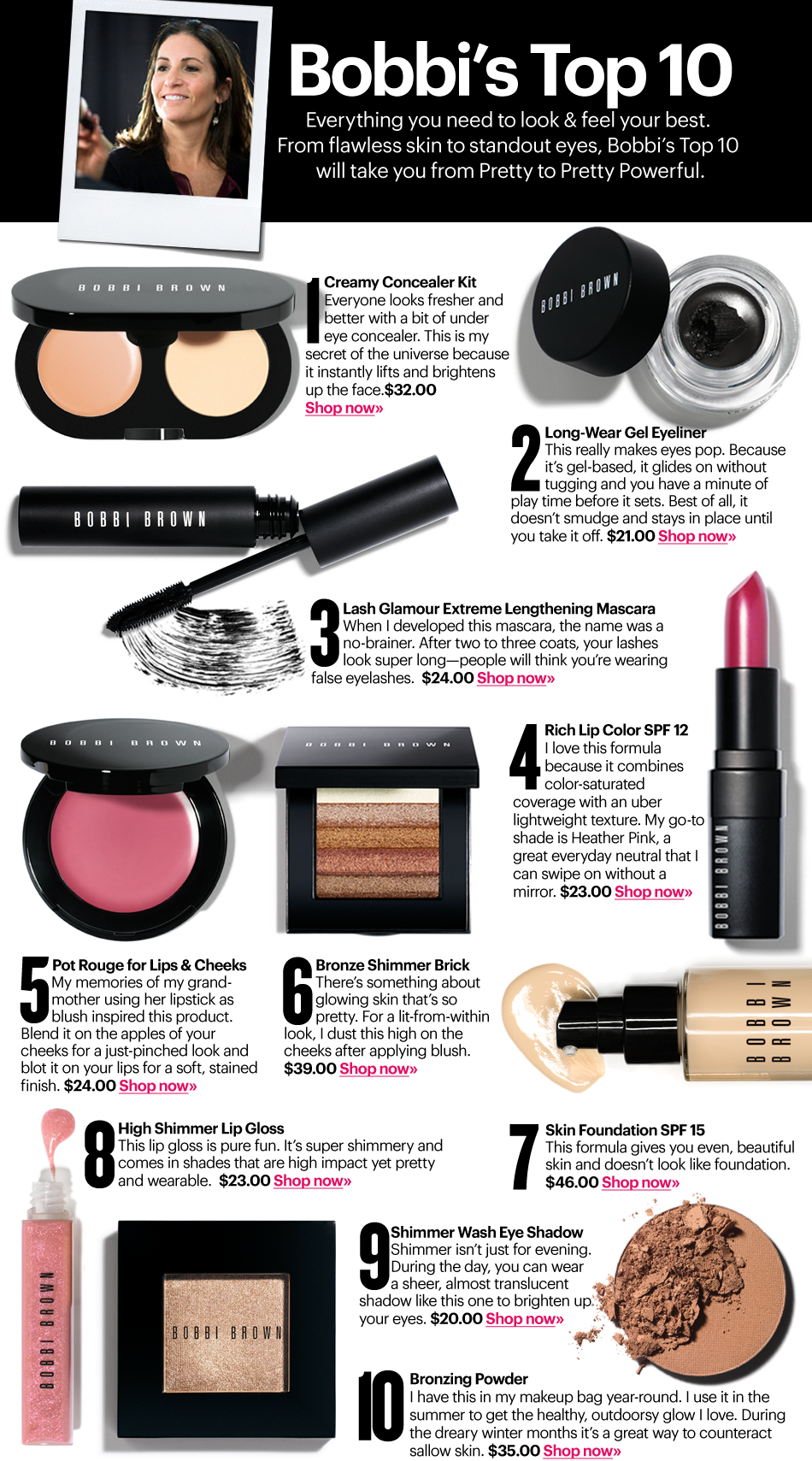 """Bobbi Brown's Top 10 products for your basic cosmetics """"wardrobe"""" -- all listed are hers, but good basic list and as always some useful tips"""