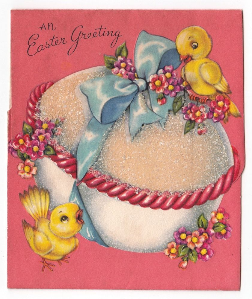 Vintage greeting card easter chick glittered egg bunny rabbit vintage greeting card easter chick glittered egg bunny rabbit inside kristyandbryce Image collections