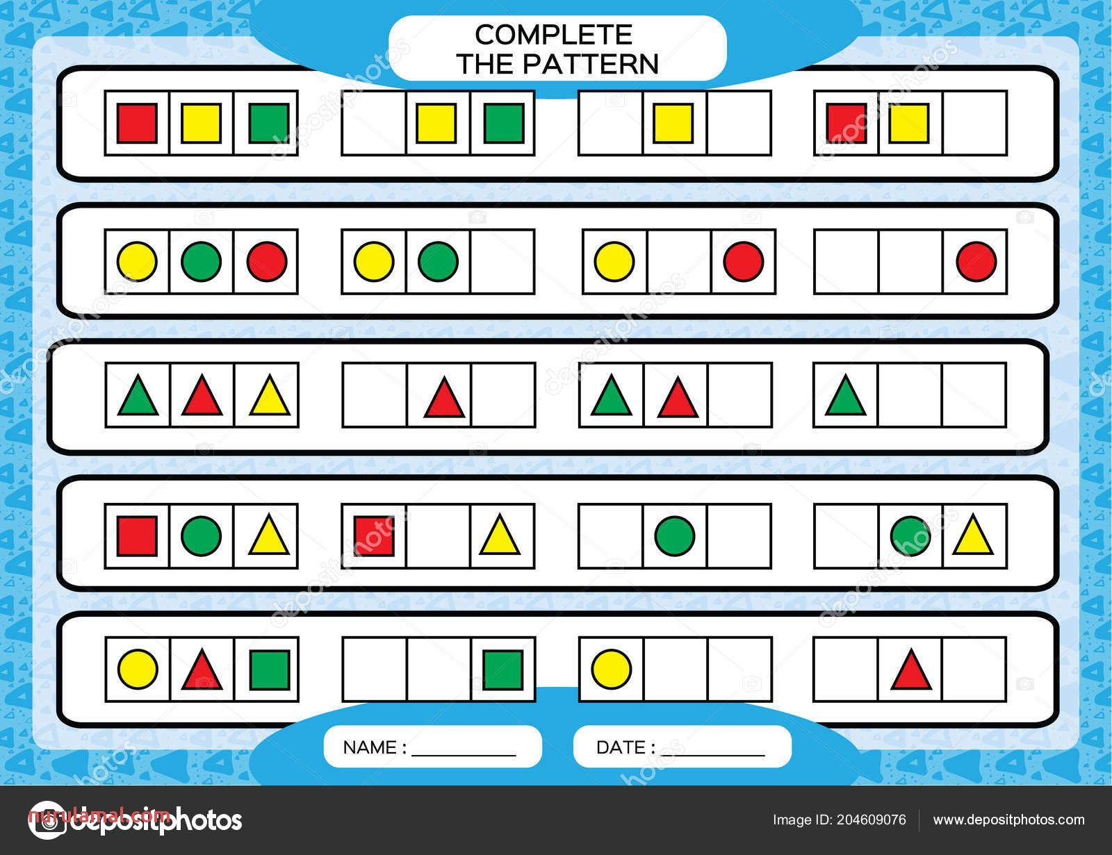 22 Fall Preschool Pattern Worksheets Coloring Style