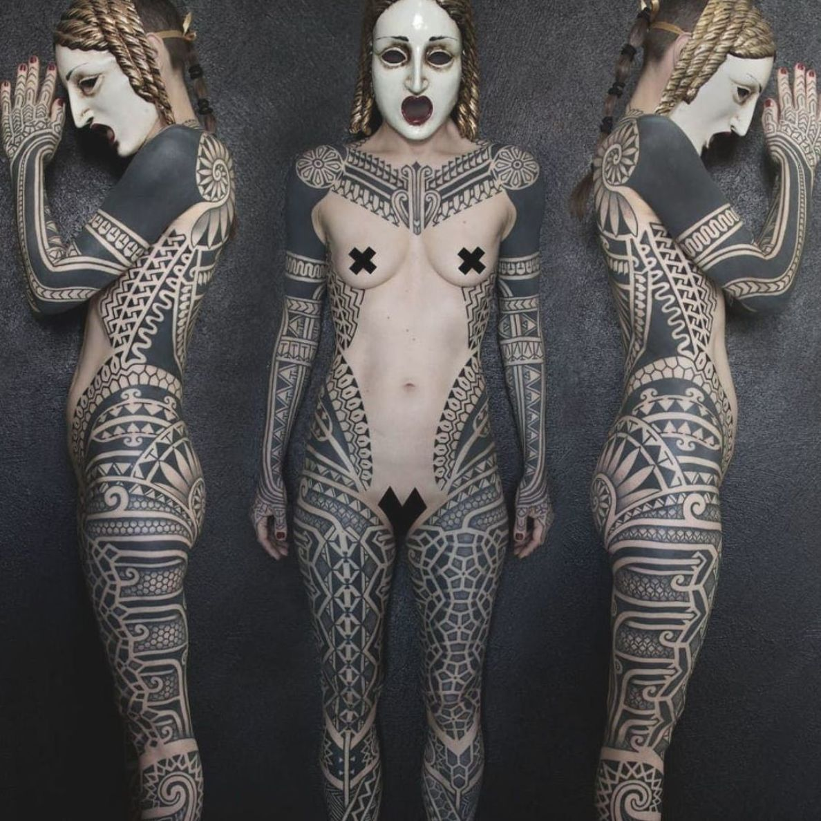 Blackwork bodysuit by Samuel Christensen