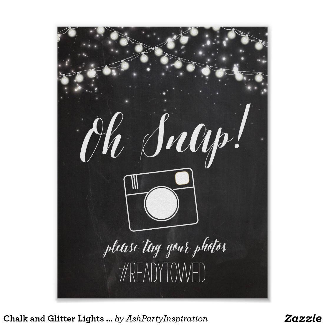 Chalk and Glitter Lights Wedding Hash Tag Sign Zazzle