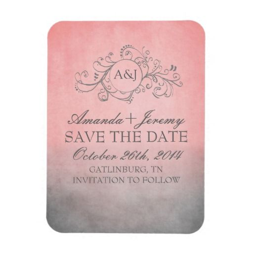 Rustic Pink and Grey Bohemian Save The Date Rectangular Magnet