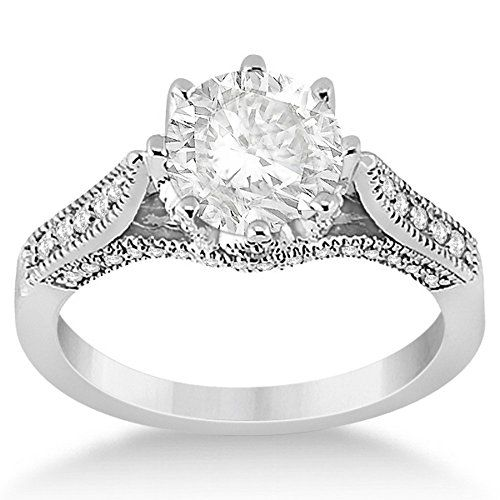 Edwardian Heirloom Pave Set Diamonds on Crown Engagement Ring Platinum Setting (0.35ct)