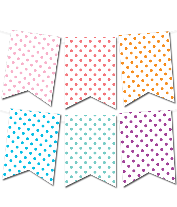 Polka Dot Pennant Banner (in 12 Colors)