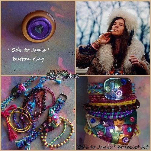JANIS JOPLIN FOREVER!!!  https://flic.kr/p/Tx64dn | ODE TO JANIS jewelry series | Hand made button ring. Janis Joplin bracelet set