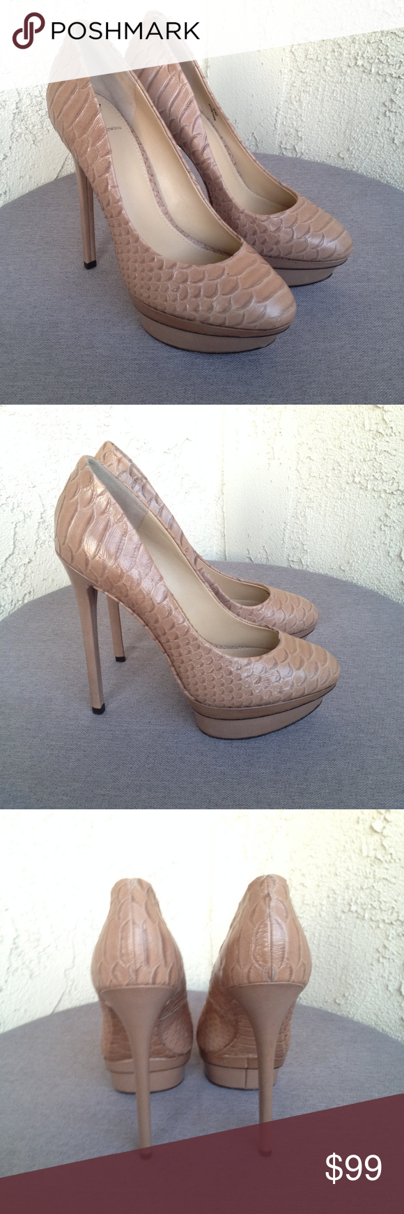 c5d8bee1034 Brian Atwood Nude Snakeskin Stilettos Heels 9 Brian Atwood Women's ...