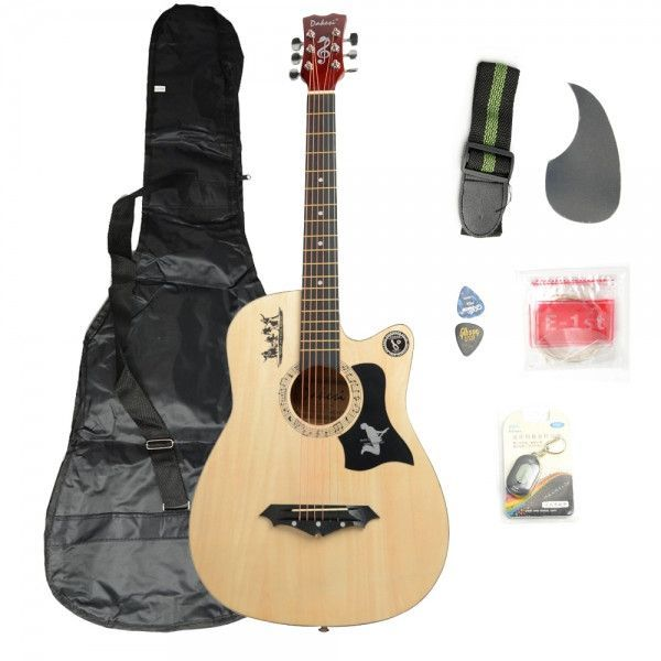 Basswood Guitar Wood Color With Bag Straps Picks Lcd Tuner Pickguard