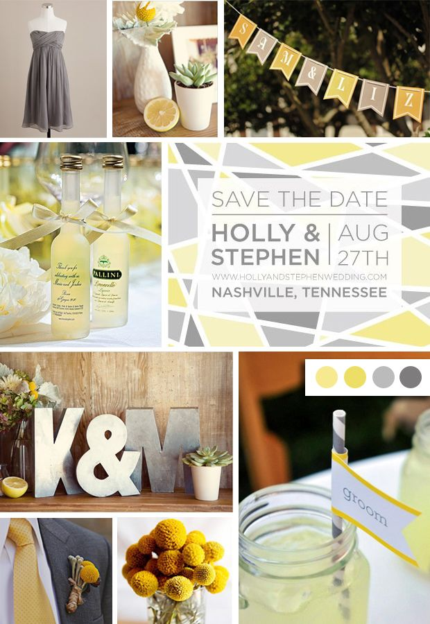yellow and gray wedding color palette inspiration board by Jam + ...