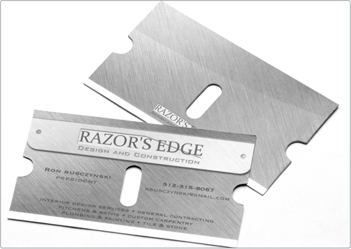 Razors edge business card design the bottom of the card is lined razors edge business card design the bottom of the card is lined with silver foil die cut reheart Image collections