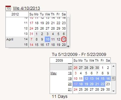 Continuous Calendar – Date Picker & Date Range Selector jQuery
