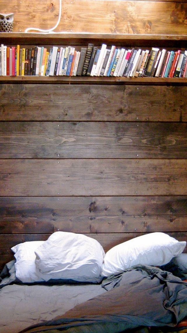 Bed Reading Spot Book Shelf iPhone 5s wallpaper Home