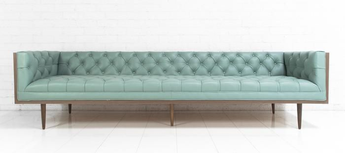 Seating - Neutra Sofa in Pale Blue Leather I roomservicestore - blue leather  tufted sofa, mid-century style tufted leather sofa, mid-century style  tufted ...