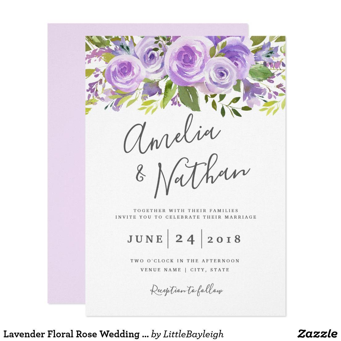 Lavender Floral Rose Wedding Invitation | Rose wedding, Wedding and ...