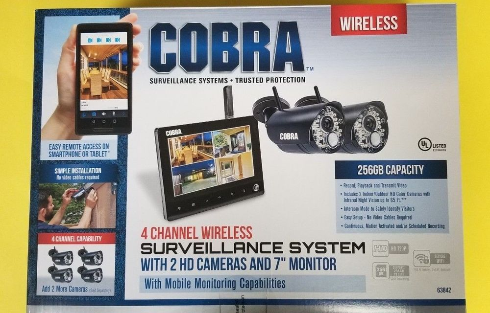 9bc32c9f9f5 Cobra 4 Channel Wireless Surveillance System 2 Cameras Security Monitor -  USED (eBay Link)