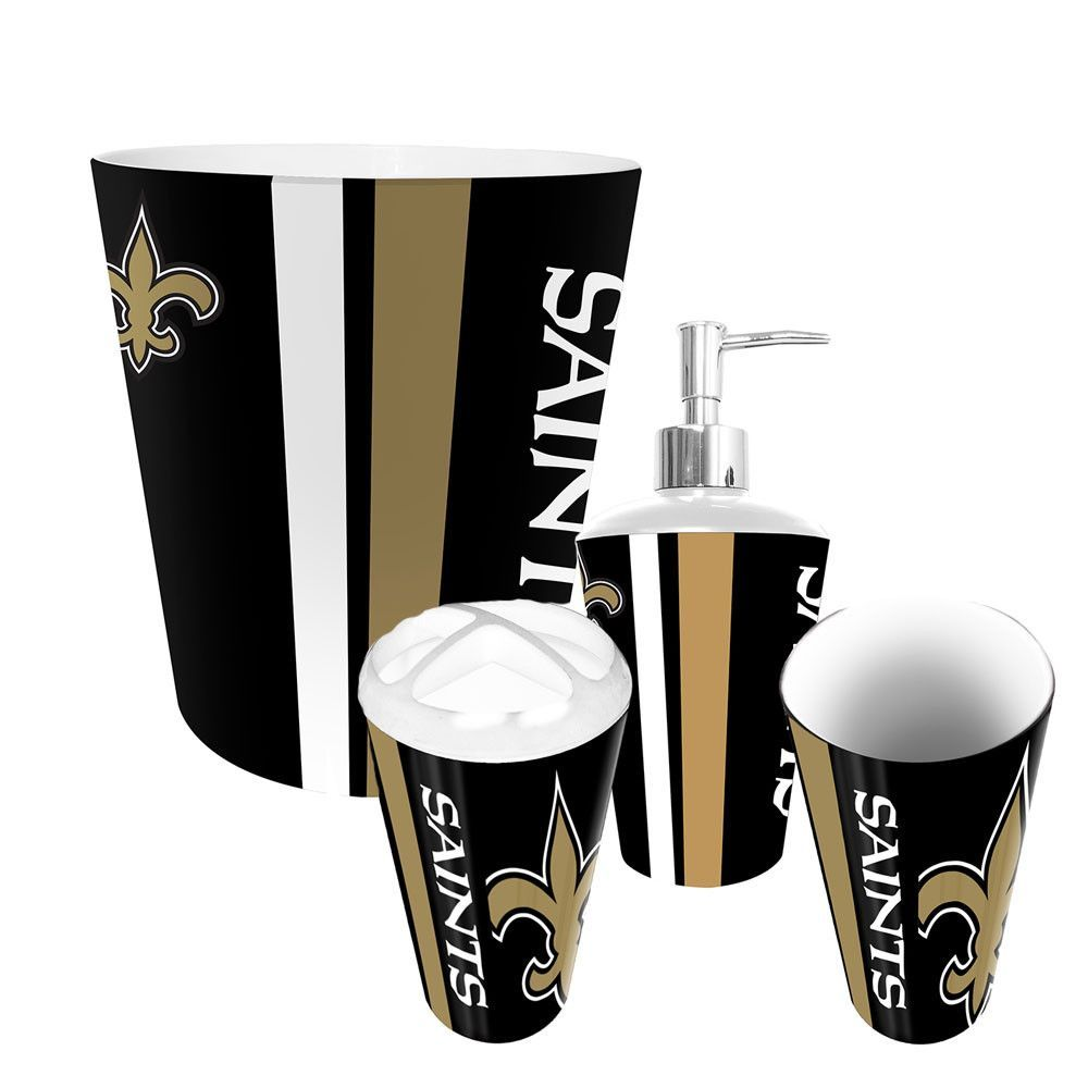New Orleans Saints Nfl Complete Bathroom Accessories 4pc Set