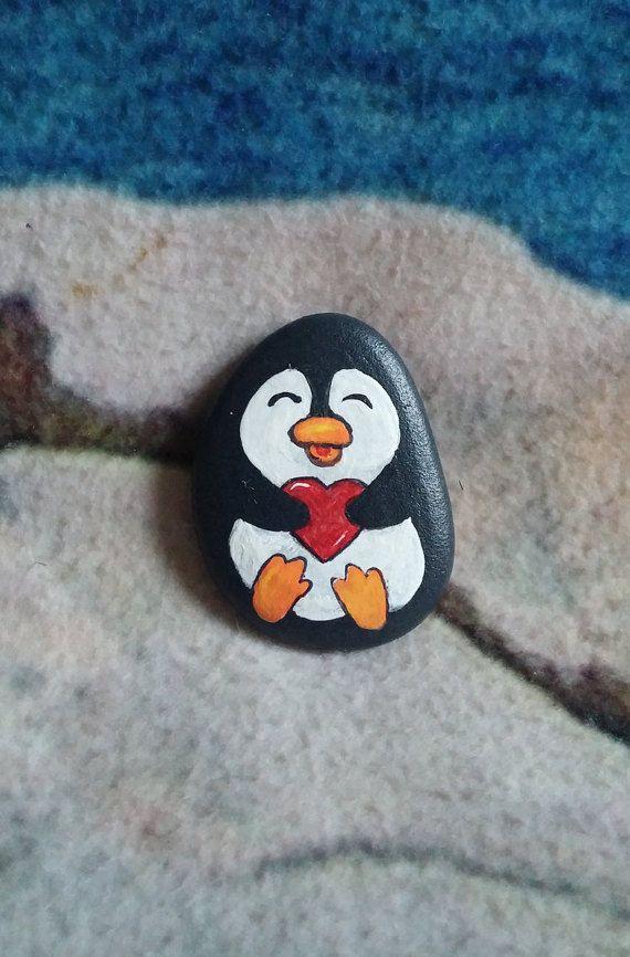 Valentine's Penguin Rock the Perfect Pebble von WildWhimsicalNature #bemaltekieselsteine