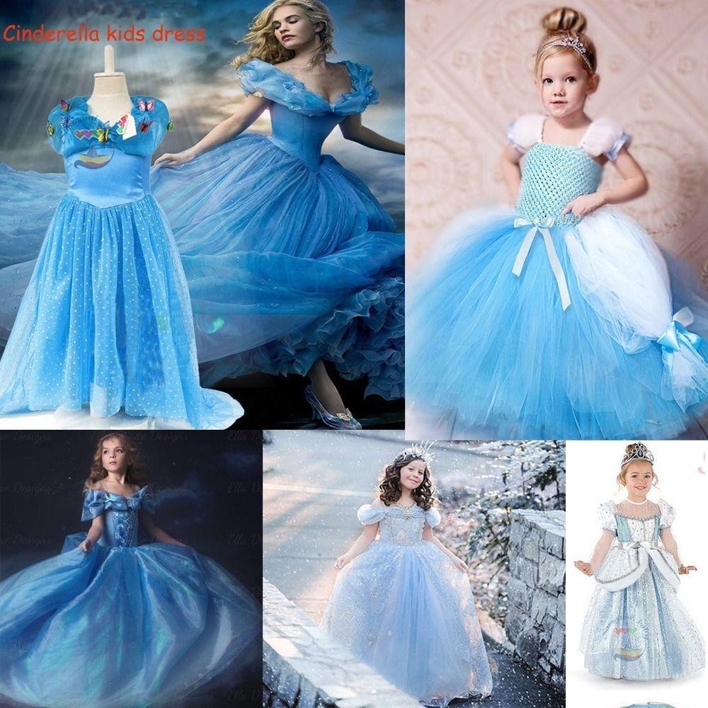 New Cartoon Princess Cinderella Girl Gown Dress Kids Costume Big ...