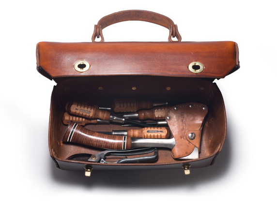 """""""Leather tool box I had made exclusively for Kaufman Mercantile, manufactured by AEM Lether in Astoria NY"""""""