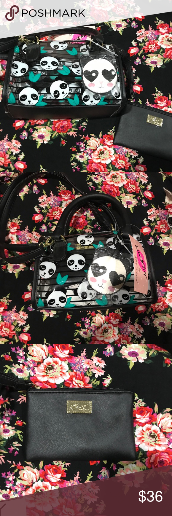 a6514cb00 Betsey Johnson Clear Panda Stripe Tote Bag This cutie patootie by Betsey  Johnson is made
