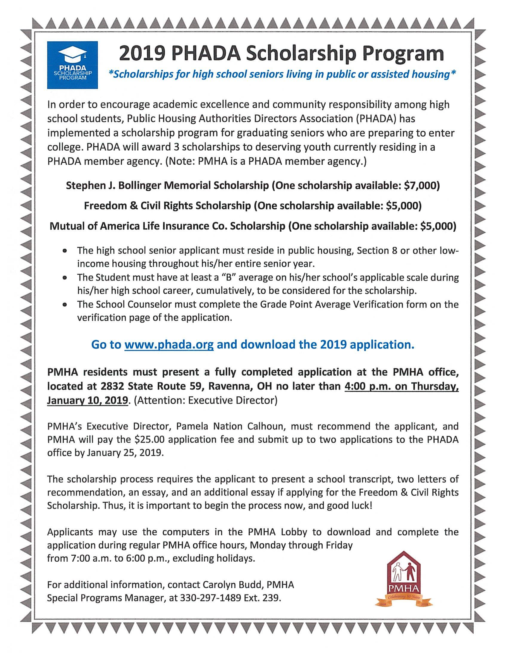 11-12-18 OHIO SCHOLARSHIP ALERT! 2019 PHADA - Portage