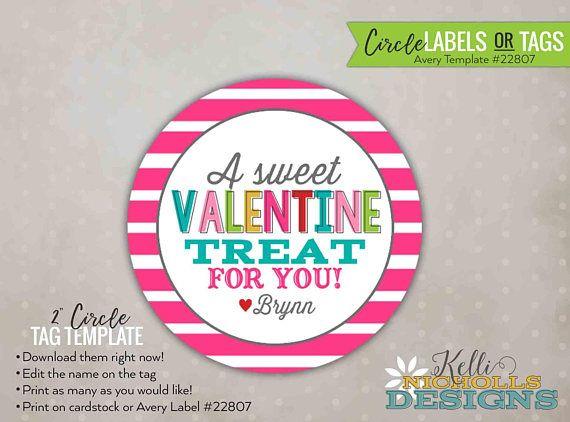 Custom Stripes Valentines Day Stickertag Personalized Treat Bag