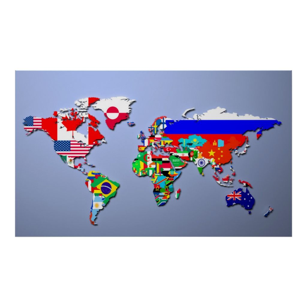 The World Map With Their Flags Poster Zazzle Com In 2021 Flags Of The World World Map Wallpaper World Map