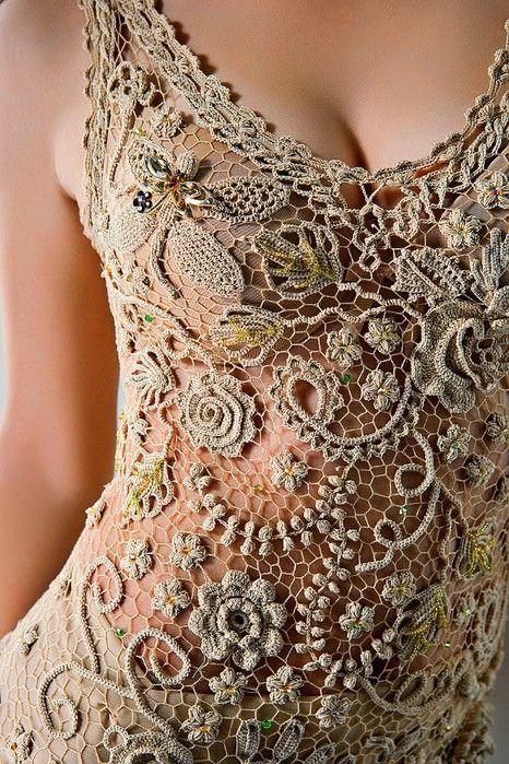 delicada y hermosa blusa en crochet irlandés. Puede ser parte de un ...