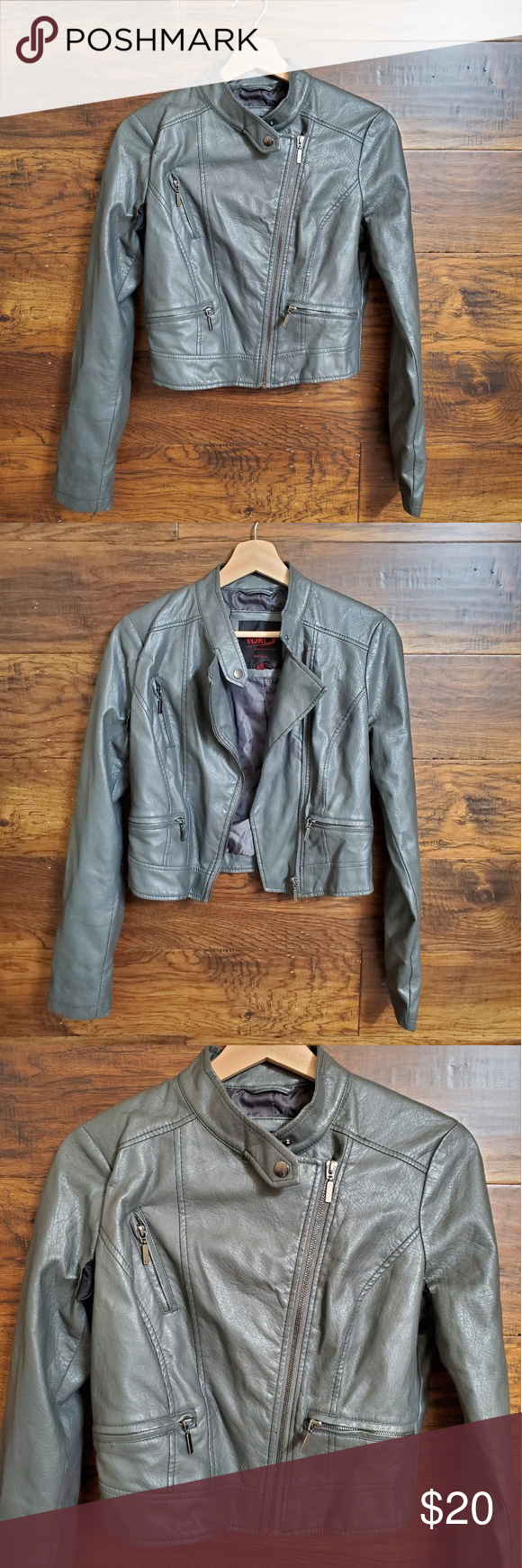 Yoki Outerwear Faux Leather Motto Jacket Great Faux Leather Motto Jacket Front Chest Zipper Accent And 2 Functional Front Outerwear Clothes Design Jackets [ 1740 x 580 Pixel ]
