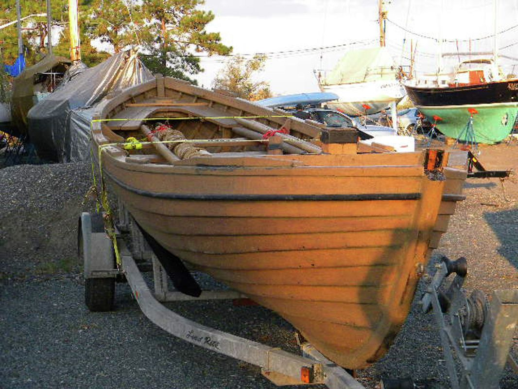 the 19th century whaleboat on its trailer