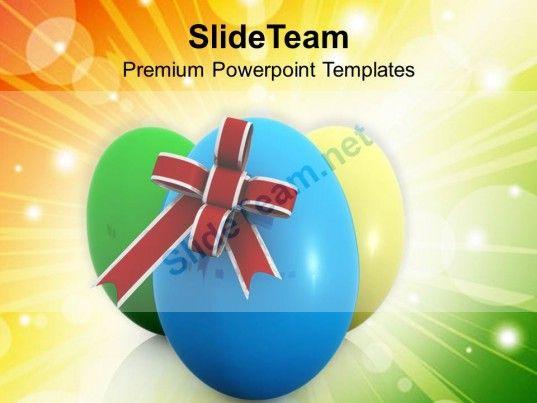 0313 Elegant Easter Eggs With Bow Festival PowerPoint Templates - elegant powerpoint template