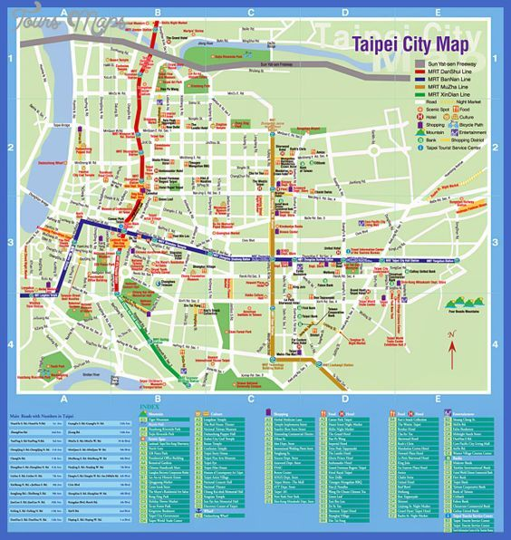 Taipei Map Tourist Attractions