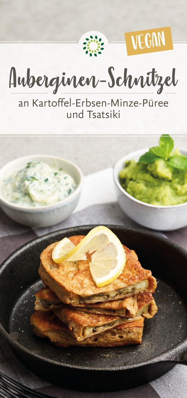 Auberginen-Schnitzel an Erbsen-Minze-Püree und Tsatsiki #pumpkinseedsrecipebaked