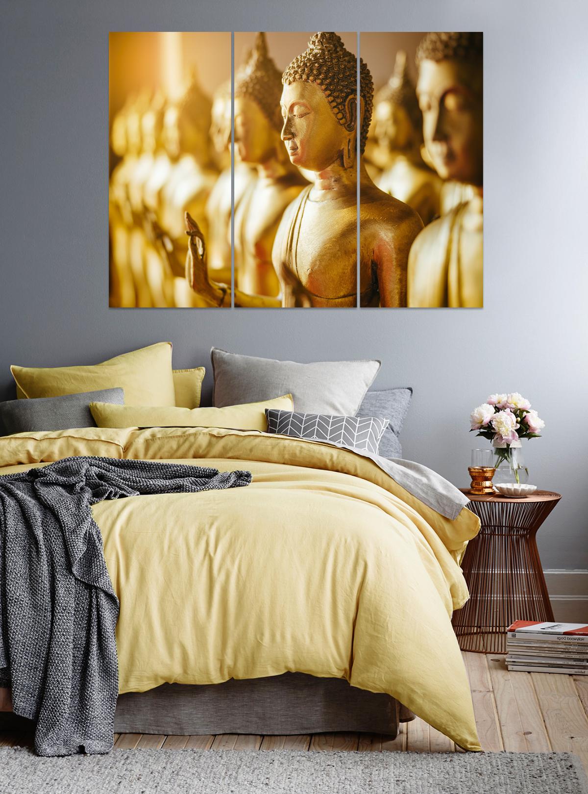 Gold Buddha Statue Panel Art, Ying, Yang, Zen Print, Home Harmony ...