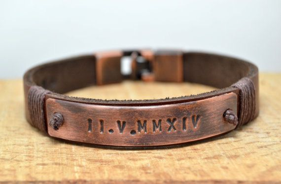 Free Shipping Mens Personalized Leather Bracelet Id Roman Numeral Tumbled Copper Plate Fathers