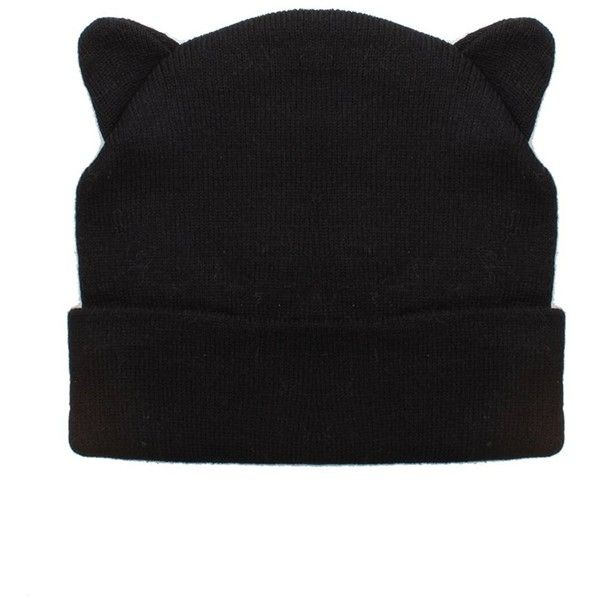 69589d8c5a Ladies Black Beanie Hat with Cool Cat Ears Design ($11) ❤ liked on Polyvore  featuring accessories, hats, beanie cap, cat ear beanie, beanie cap hat, ...