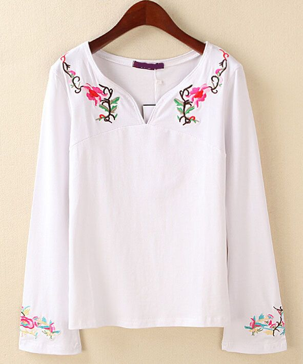 00062db7 Latest Design China Girls Top Embroidery Designs Long Sleeve Ladies Plus  Size Cotton Loose White Tee Shirt /t Shirt Tshirt Photo, Detailed…