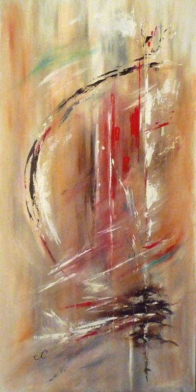 Tableau Peinture Abstrait Acrylique Rouge Mouvement Un