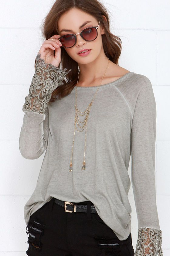 Black Swan Drizzle Washed Grey Lace Top