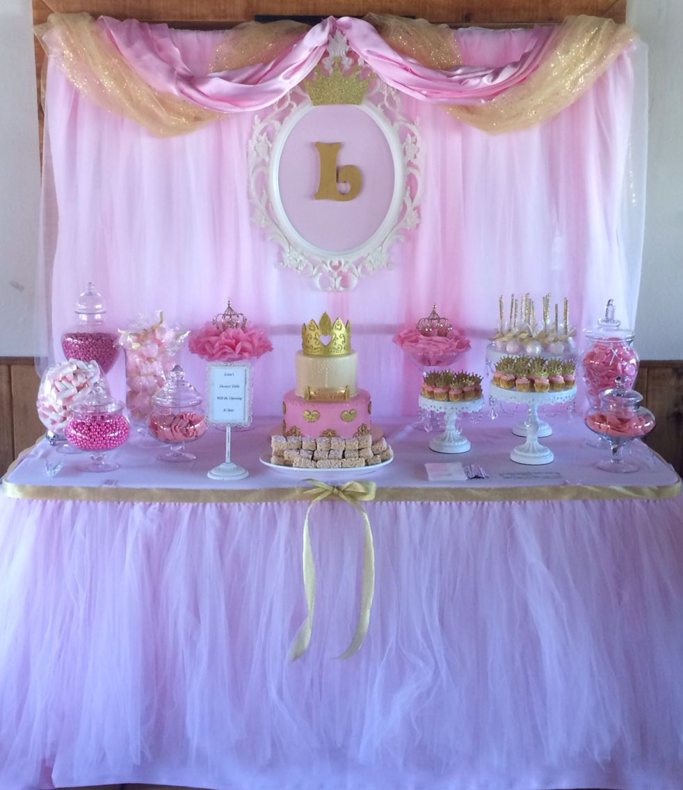 Princess Candy Dessert Table By Bizzie Bee Creations Birthday Party Candy Table Princess Theme Birthday Princess Party Decorations