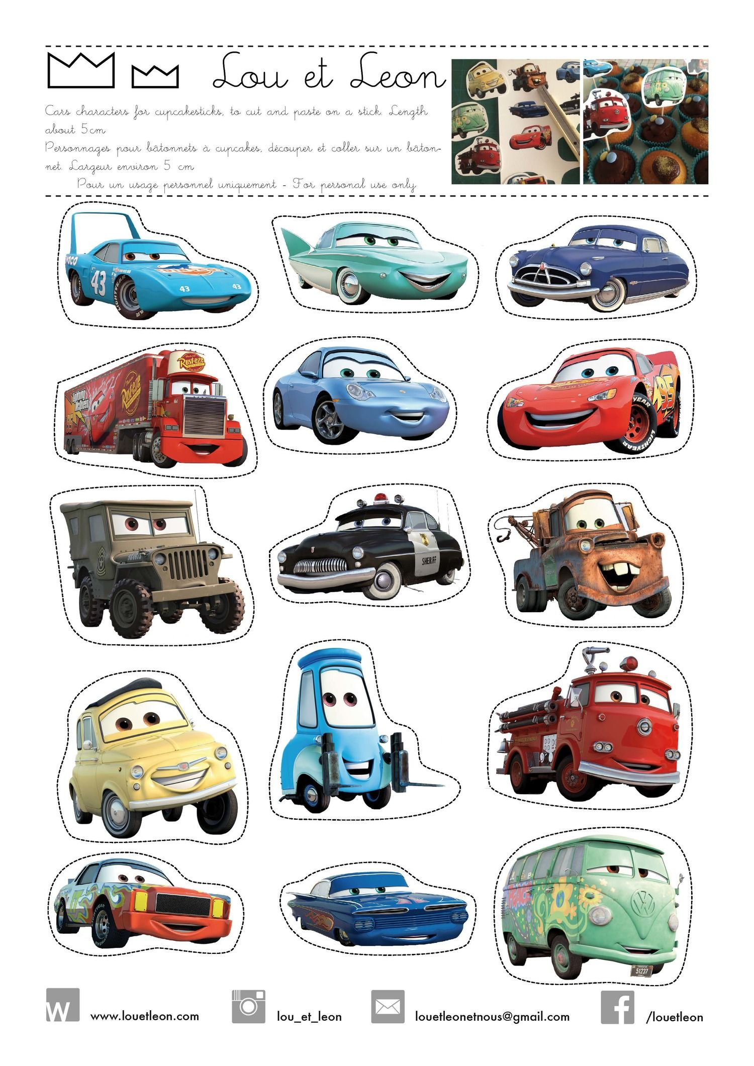 Free download cars cupcakes sticks! Cars, lighting McQueen, birthday party… 748c254def7
