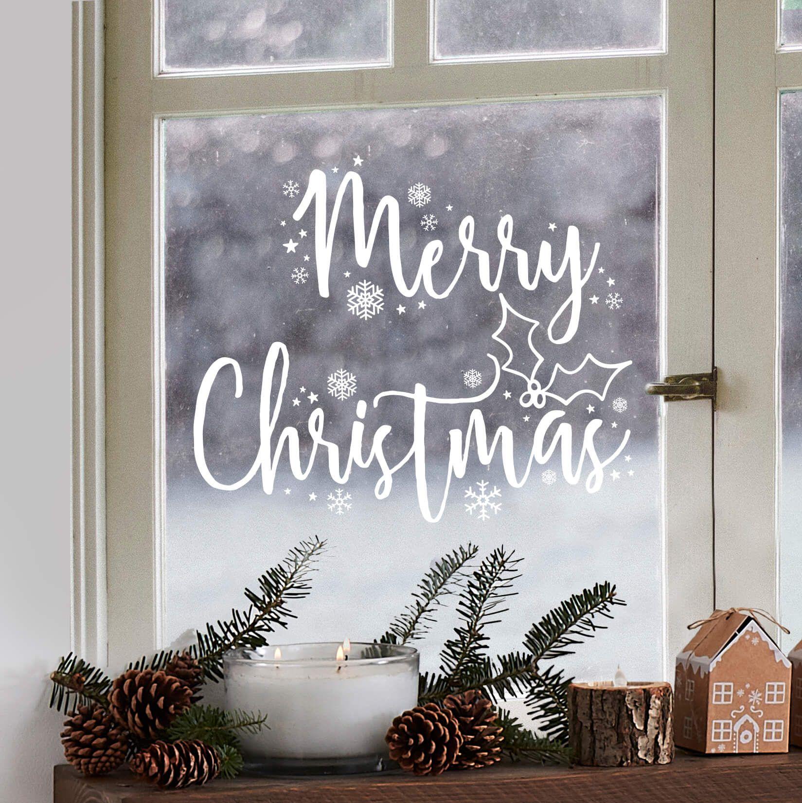 Merry Christmas Raamsticker Kerst Raamsticker Kerstraam Kerstversiering Landelijke Kerstversiering