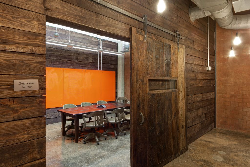 iProspect's Raw and Open Warehouse Offices reclaimed wood, brick, pop of  orange and polished - IProspect's Raw And Open Warehouse Offices Reclaimed Wood, Brick