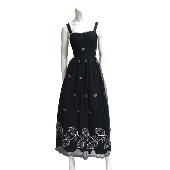 e72532922a Plus Size clothing evening vintage dress gown black tulle silver sequin  robe prom L Perfect Conditions