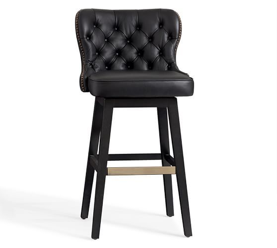 Caldwell Tufted Leather Swivel Bar Counter Stool Black
